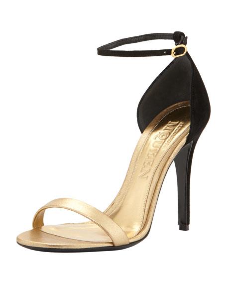 Metallic d'Orsay Ankle-Wrap Sandal