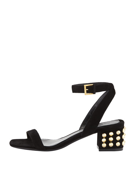 Studded-Heel Ankle-Wrap Sandal, Black