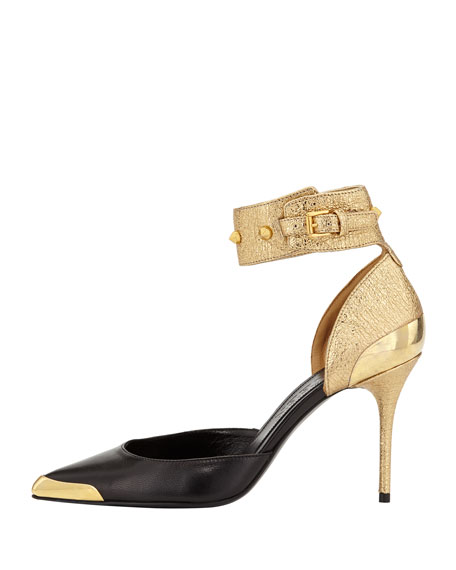 Studded Combo Metal-Tip Ankle-Wrap Pump