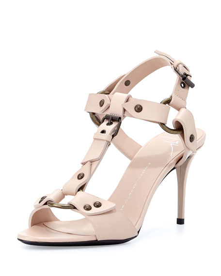 T-Strap Harness Sandal, Beige