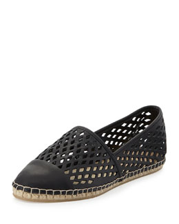 Mara Perforated Espadrille Flat, Black