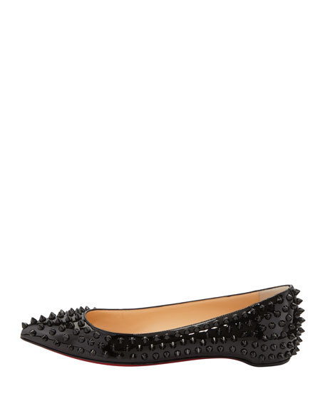 4152bd48359 Pigalle Spikes Patent Red-Sole Flat Black