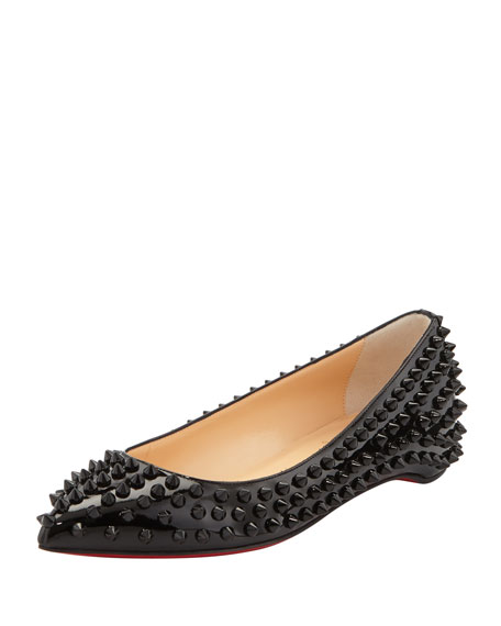 Pigalle Spikes Patent Red-Sole Flat, Black