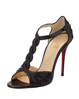 Christian Louboutin Jazzy Doll Braided Red-Sole Sandal, Black