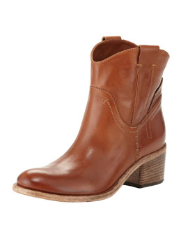 Alberto Fermani Volo Pull-On Leather Ankle Boot, Tan