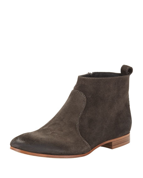 Nolita Flat Suede Ankle Boot, Metallic Gray
