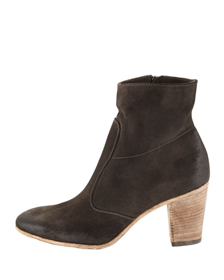 Diva Suede Ankle Boot, Metallic Gray