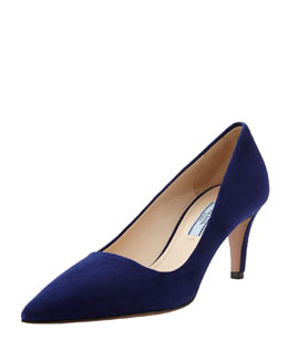 Prada Suede Low-Heel Pointed Pump