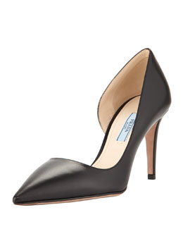 Prada Pointed-Toe Half-d'Orsay Pump, Black