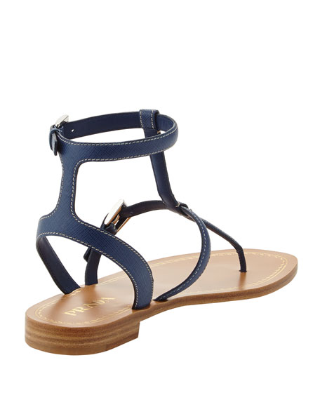 Studded Saffiano Ankle-Wrap Thong Sandal, Blue