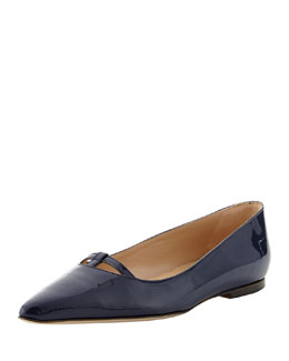 Manolo Blahnik Kavanga T-Bar Pointy-Toe Flat, Navy