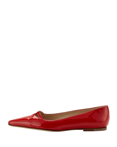 Kavanga T-Bar Pointy-Toe Flat, Red Orange