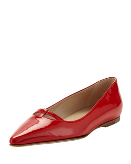 Manolo Blahnik Kavanga T-Bar Pointy-Toe Flat, Red Orange