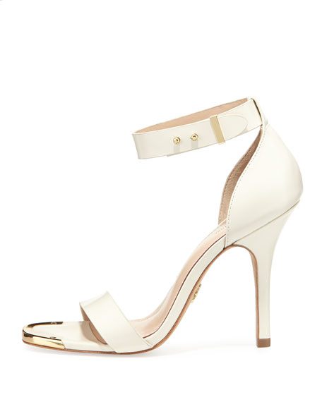 Yaya Leather Ankle-Wrap Sandal, Ivory