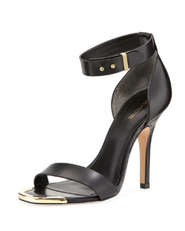 Pour la Victoire Yaya Leather Ankle-Wrap Sandal, Black