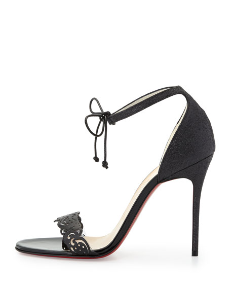 Valnina Cutout Ankle-Tie Red Sole Sandal, Black