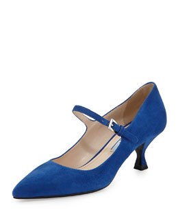 Prada Suede Low-Heel Mary Jane Pump