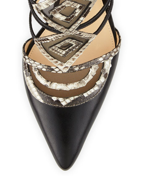Python & Leather Ankle-Strap Pump