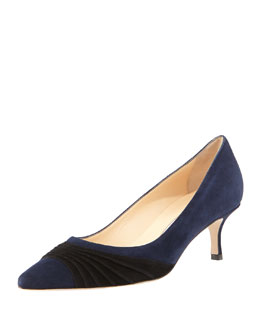 Manolo Blahnik Golda Ruched Suede Pointy Pump, Navy