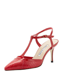 Manolo Blahnik Wotton Snake/Patent T-Strap Pump, Red
