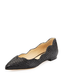 Alexandre Birman Scalloped Python Pointed-Toe Flat