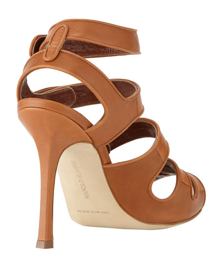 Bocekay Button-Strap Sandal, Tan