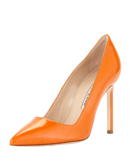 Manolo Blahnik BB Patent Point-Toe Pump, Orange