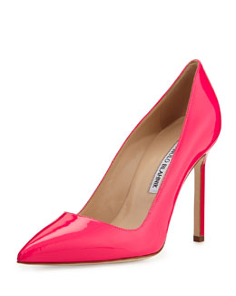 Manolo Blahnik BB Patent Point-Toe Pump, Hot Pink