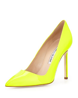 Manolo Blahnik BB Patent Point-Toe Pump, Bright Yellow