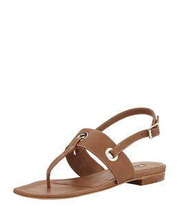 Manolo Blahnik Mooti Grommet Thong Sandal, Medium Brown
