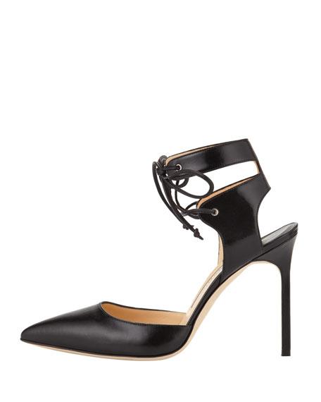 Lara Leather Ankle-Tie Pump, Black