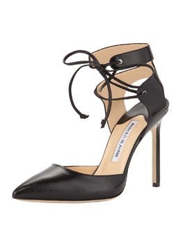 Manolo Blahnik Lara Leather Ankle-Tie Pump, Black