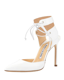 Manolo Blahnik Lara Leather Ankle-Tie Pump, White