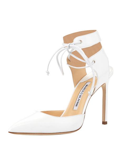 Lara Leather Ankle-Tie Pump, White