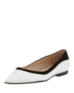 Manolo Blahnik Preflat Point-Toe Combo Flat, White
