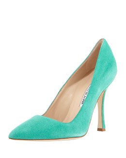 Manolo Blahnik BB Suede Point-Toe Pump, Green