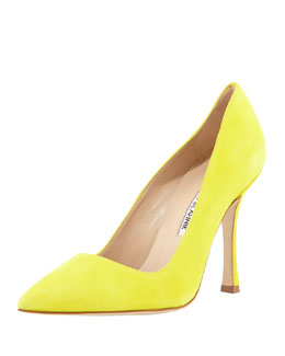 Manolo Blahnik BB Suede Point-Toe Pump, Yellow