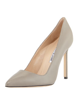 Manolo Blahnik BB Leather Point-Toe Pump, Beige