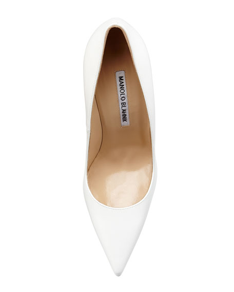 BB Leather Point-Toe Pump, White