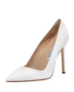 Manolo Blahnik BB Leather Point-Toe Pump, White