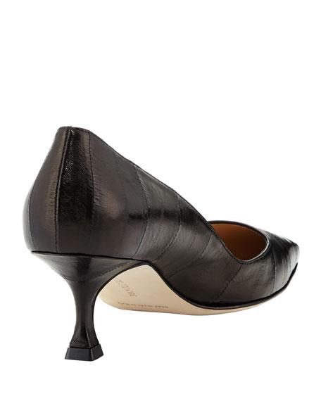 Twixpla Low-Heel Eelskin Pump, Black