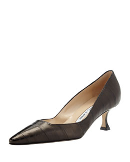 Manolo Blahnik Twixpla Low-Heel Eelskin Pump, Black