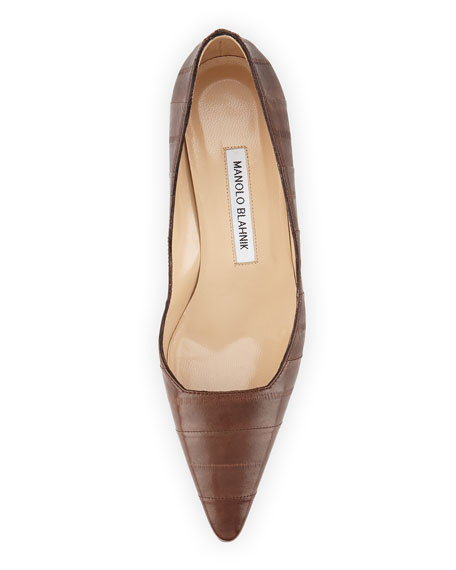 Twixpla Low-Heel Eelskin Pump, Brown