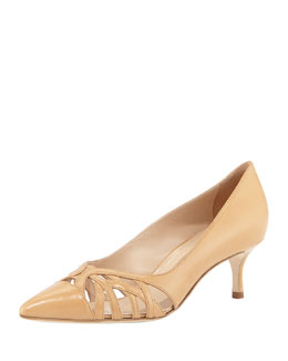 Manolo Blahnik Gayatri Leather Cutout Pump, Beige