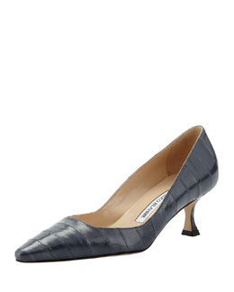 Manolo Blahnik Twixpla Low-Heel Eelskin Pump, Dark Gray