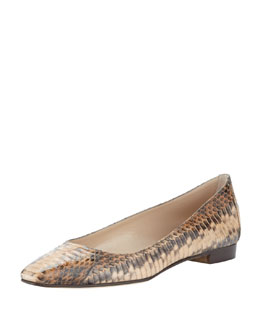 Manolo Blahnik Lee Watersnake Skimmer, Beige