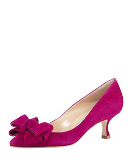 Manolo Blahnik Lisa Kitten-Heel Bow Pump, Fuchsia