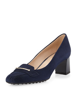 Tod's Gomma Suede Loafer Pump, Navy