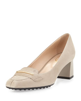 Tod's Gomma Lingo Suede Bar Pump, Tan