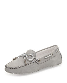 Tod's Heaven Laccetto Suede Drivers, Light Gray